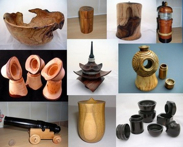 Collage of turned objects